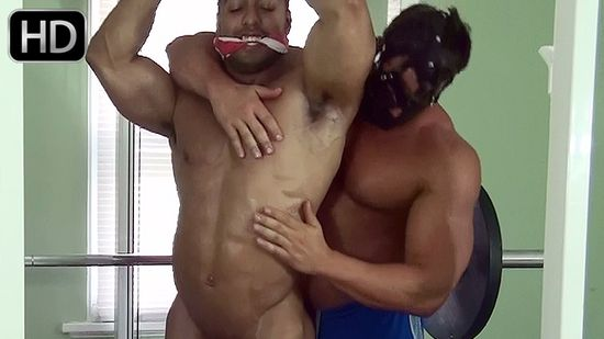 Titan in Bodybuilder Gym Bondage