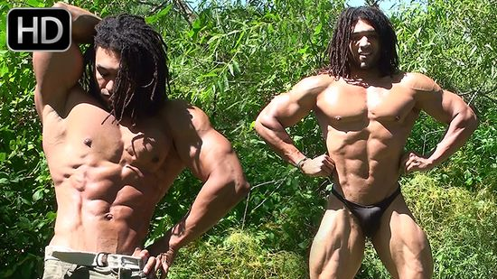 Brice King Outdoor Muscle Flexing
