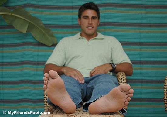 Peter's Feet Bare and In Flip Flops
