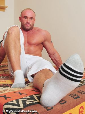 Dorian's Wide Size 10s In White Socks and Bare 17