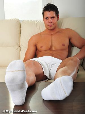 Hutch's Size 11s In White Socks and Bare Feet 11