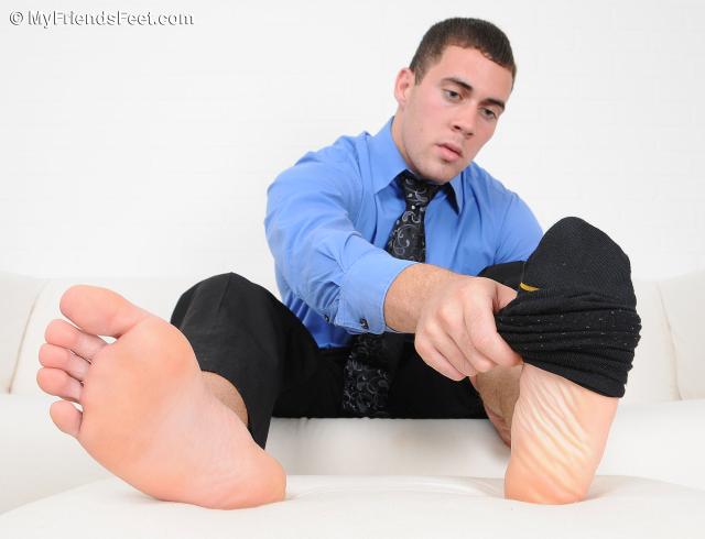 Koi's Size 9 1/2 Feet In Dress Socks and Bare