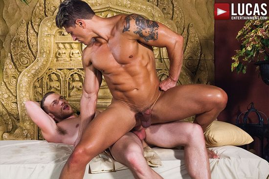 Bryce Evans Samples Jake Andrews' Ass Bareback