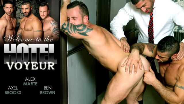 Men at Play Hotel Voyeur Starring Alex Marte, Ben Brown and Axel Brooks