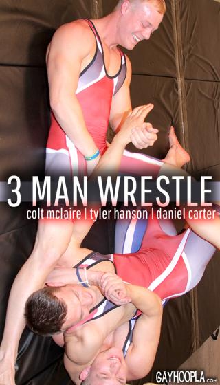 Wrestling Buddies Jerk OFF Featuring Daniel Carter, Colt McClaire, Tyler Hanson