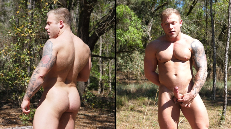 Blond Bodybuilder in the Woods Featuring Jake Daniel